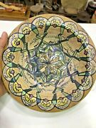 Antique Islamic Handcrafted Persian Pottery Glazed Kashan Bowl Names Allah God