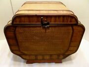 Vintage 18 Oriental Bamboo Wood And Rattan Storage Box Chest W/ Label China