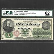 Fr 16c 1 1862 Legal Tender Pmg 62 Uncirculated Ships Free
