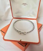 Auth Hermes And039torsade Sterling Silver 39cm Necklace In Original Boxes