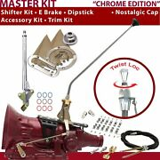 C4 Shifter Kit 23andampquot E Brake Cable Clamp Clevis Trim Kit Dipstick For F71