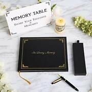 Funeral Guest Book With Premium Pen Set And Memory Table Sign. Celebration
