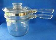 Made In Usa Pyrex 3 Piece Flame Ware 1.5 Qt Double Boiler Pots With Lid 6283
