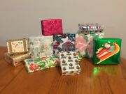 Vtg Lot Ten Jewelry And Small Boxes Wrapped W/ Vintage Christmas Gift Wrap Pink