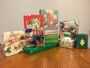 Vtg Lot Ten Jewelry And Small Boxes Wrapped W/ Vintage Christmas Gift Wrap Cute