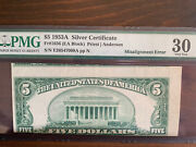 Series 1953a 5 Silver Certificate Fr1656 Misalignment Error Note Pmg Vf30