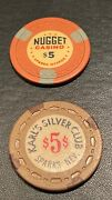 Casino Chips Vintage Obsolete Karland039s Silver Club And Nugget 5 Sparks Nv Pair