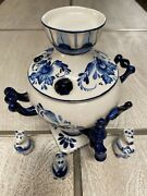 Russian Gzhel Blue And White Porcelain Russian Samovar And 3 Small Figurines