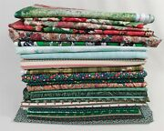 Over 45 Yds Green Pink Red Print Floral Cotton Vintage Fabric Quilt Fabric Lot