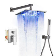 Led Rain Shower System With Handheld Spray Wall Mounted Brushed Nickel Combo Set