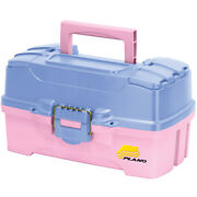 Two-tray Tackle Box With Dual Top Access Fishing Box Pink/periwinkle