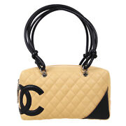 Cambon Quilted Cc Bowling Hand Bag 9476921 Beige Black Lambskin 61324