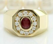 Real Solid 14k Yellow Gold 2.05ct Oval Cut Natural Red Ruby Diamond Ring