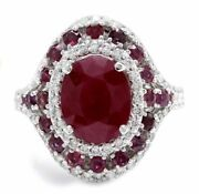 Real Solid 14k White Gold 4.60ct Oval Cut Natural Red Ruby Diamond Ring