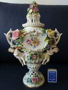 Very Rare Unique Antique Dresden Porcelain Vase With Flowers And Angels