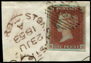 1d Pl.169 Town Cds In 'brown' Of 'stoney-stratford.23.au.1853', Tying Fine Fou