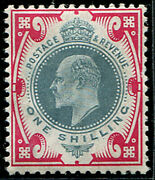 1/- Sg 257a Variety And039dull Green And Carmine-pinkand039c U/m Superb Fresh Of This S