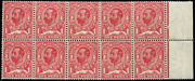 1d Sg 328a And039no Cross On Crownand039 In Postitional Block Of Ten All U/m Variety On