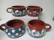 1996 Eldreth Redware Decorated Pottery Of Pa - 4 Handled Soup Crocks