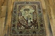Antique Pre-1900 Pictorial Kirman-ravar Area Rug Hand-knotted Oriental Wool 2x3