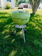 Rare 22 Vintage Weber Grill Two Tone Brown Kettle Barbecue Minty W/ Manual
