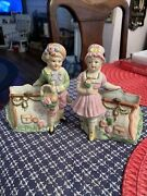 Vintage Porcelain Victorian Boy And Girl Figurines Open Purses/vase 6 Tall