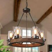 Farmhouse Wood Chandelier, Round Wagon Wheel Light Fixture With Seeded Glass