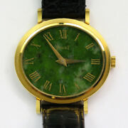 Piaget Lady Classic Ref 9801 Manual 18k Yellow Gold Jade Dial Wristwatch 1970and039s