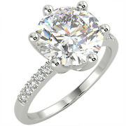 2.19 Ct Round Cut Si3/d Solitaire Pave Diamond Engagement Ring 14k White Gold