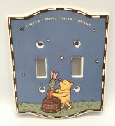 Disney Classic Winnie The Pooh Double Light Switch Cover Plate Ceramic Piglet