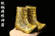 Chinese Antique Brass Statue Hand Made Ming Xuande Dragon Boots A Pair
