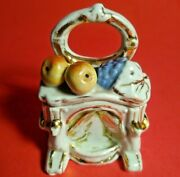 Antique Conta And Boehme Trinket Box Fruit Hand Painted 2 1/2 Fairing 1800's