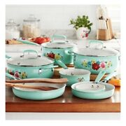 🌺 The Pioneer Woman Floral Breezy Blossoms Nonstick 12 Piece Cookware Set Vhtf
