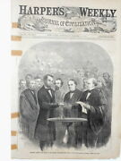 Harper's Weekly Page Cover Civil War Engraving Abe Lincoln Inauguration Oath1865