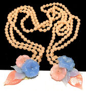Rare Vintage Early Miriam Haskell Pastel Pink Blue Glass Flower Lariat Necklace