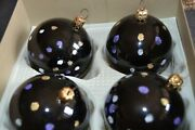 4 Vtg Wegner Christmas Ornaments Purple Frosted Mouth Blown Glass West Germany