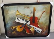 Painting Music Instruments Artist. Signed
