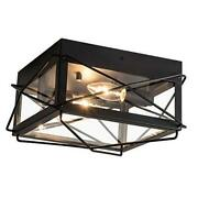 Antique Industrial Flush Mount Light Fixture Finish With Glass Lampshade Black