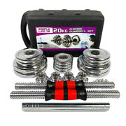 Adjustable Cast Iron Dumbbell Sets W/ Packing Box 2in1 Dumbbells Barbell 2050kg