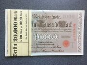 Germany Pack Of 20 Berlin Bank Empire Imperial Reichsbanknote 1000 Mark 1910 Unc