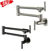 Pot Filler Wall Mounted Kitchen Faucet 2 Handle Dual Swing Joint Swing Arm1