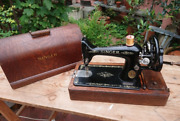 Singer Hand-cranked Sewing Machine With Case Antique Vintage