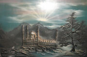 Mountain Landscape Mosque Oil Collage Painting