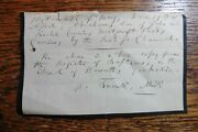 Rare Signed Autograph Note By Patrick Bronte Father Of The Bronte Sisters C 1835