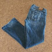 Guess Embellished Stretch Boot Cut Disstressed Low Rise Denim Jeans Women's32x31