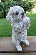 Maltese Dog Figurine Begging Playing Statue Decoration Ornament Resin 8.6 In. H