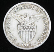 1907-s Philippines Silver Peso Circulated Coin