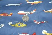 Daisy Kingdom Cotton Fabric Flying Machines Airplanes Helicopters 7 Yards
