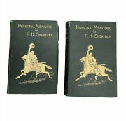Antique Personal Memoirs Of P.h. Sheridan | Volume I And Ii Set | 1888 | Webster