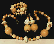 Rare Vintage Signed Miriam Haskell Lucite Wood Beads Shell 3 Pc Parure Set A74